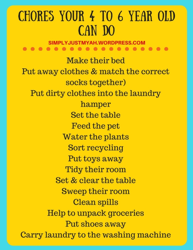 CHORES YOUR 4 TO 6 YEAR OLD CAN DO